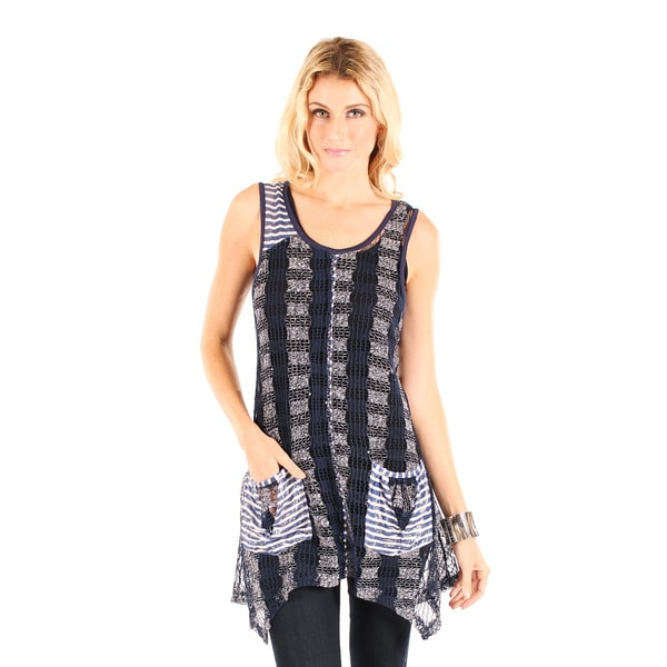 Firmiana Women's Sleeveless Blue Multi Crochet Top with Two Front Pockets and Side Tail