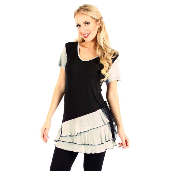 Firmiana Women's Short Sleeve Black/ Grey Layered Ruffle Top