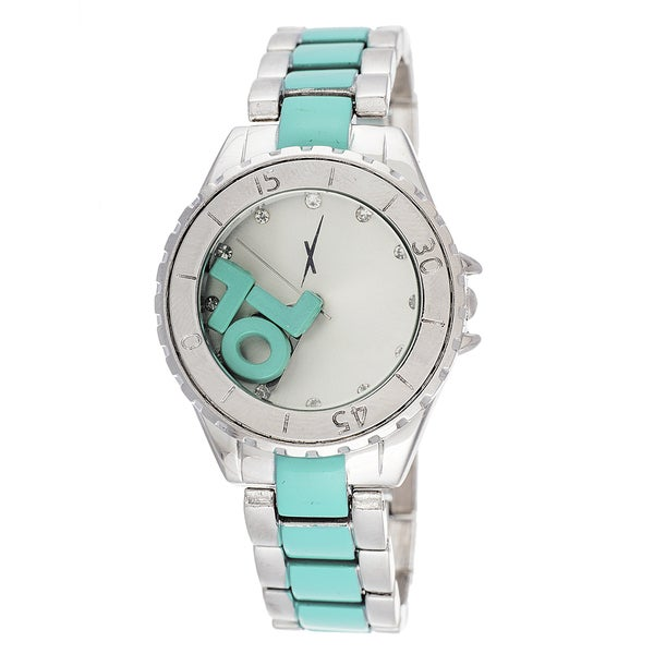 """Xtreme Boyfriend Women's Silver LOL """"L"""" """"O"""" """"L"""" on Dial with Silver & Turquoise Stainless Steel St"""