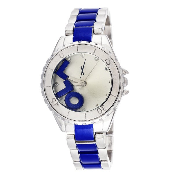 "Xtreme Ladies Boyfriend LOL Silver ""L"" ""O"" ""L"" on Dial with Silver & Blue Stainless Steel Strap W"
