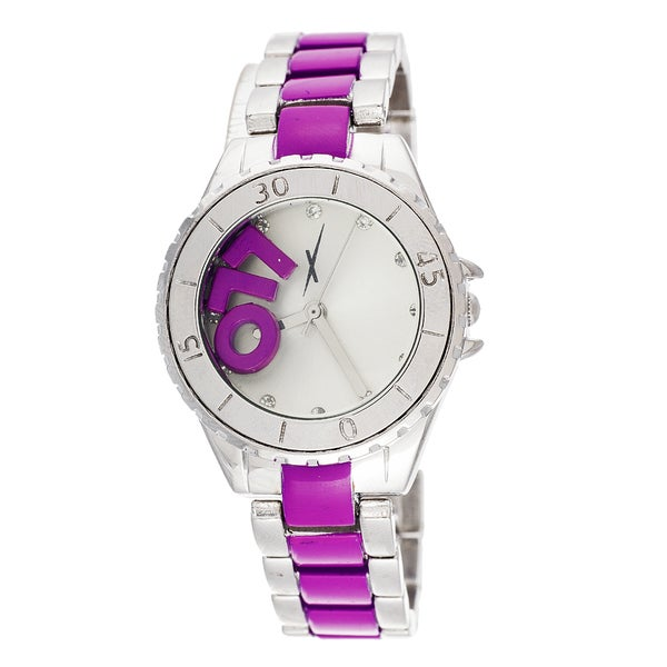 "Xtreme Boyfriend Ladies Silver LOL ""L"" ""O"" ""L"" on Dial with Silver & Purple Stainless Steel Strap W"