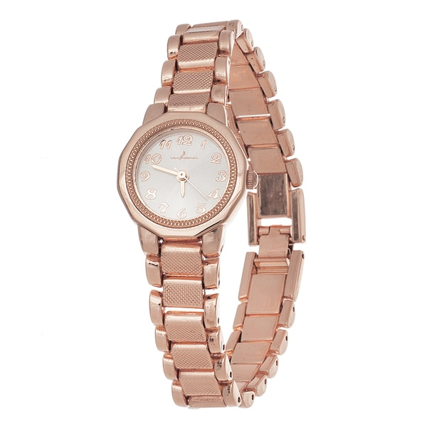 Via Nova Ladies Boyfriend Rose Ring Case with Rose Stainless Steel Strap Watch