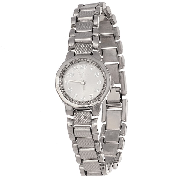 Via Nova Ladies Boyfriend Silver Ring Case with Silver Stainless Steel Strap Watch