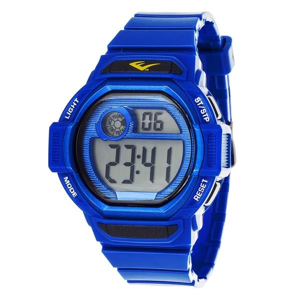 Everlast Retro Men's Digital Square Sport Blue Digital Watch with Silicone Strap