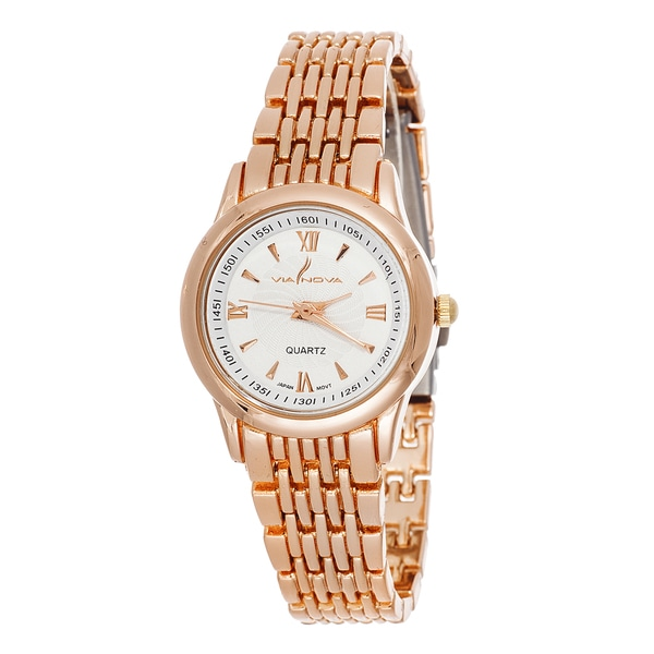 Via Nova LAdies Elegeance Rose Gold Strap Watch