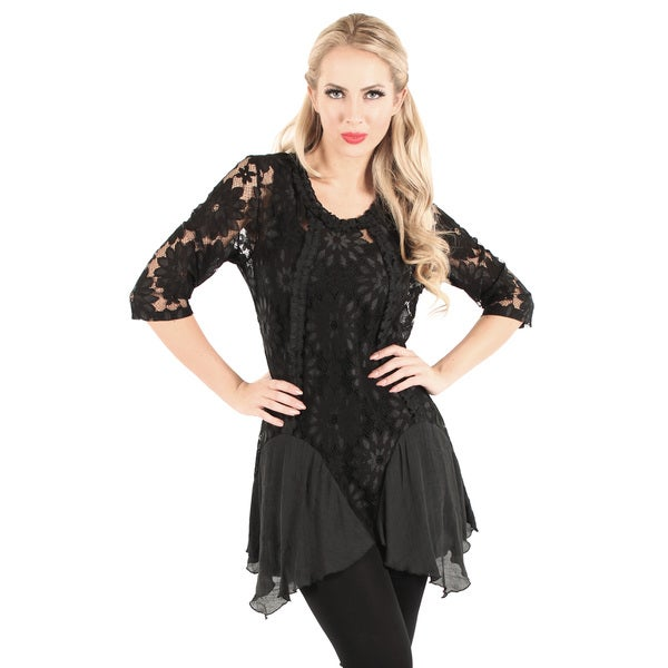 Firmiana Women's Black Floral Lace Lengthy Tunic