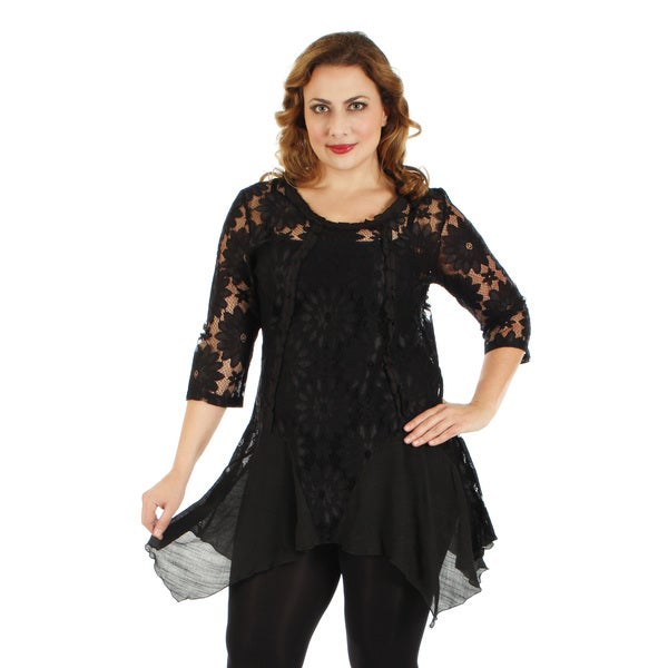 Women's Plus Size Black Floral Lace Lengthy Tunic