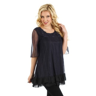 Firmiana Women's Black and Purple Lace Overlay Blouse