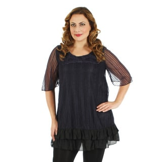 Firmiana Women's Plus Size Black and Purple Lace Overlay Blouse