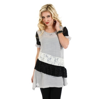 Women's Black and Grey Lace Panel Short-sleeve Top