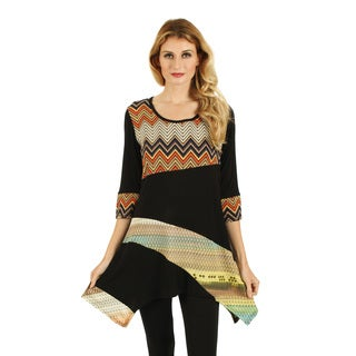 Firmiana Women's Black/ Multicolored Chevron Sidetail Blouse