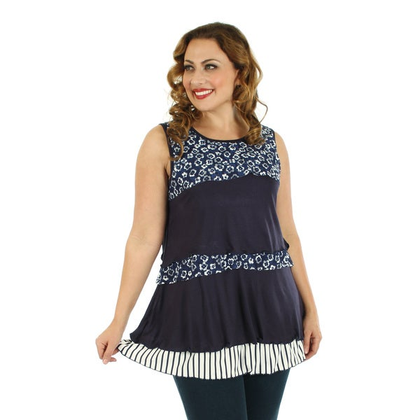 Firmiana Women's Plus Size Blue Floral Ruffled Top