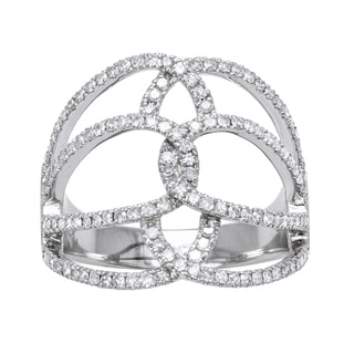 Beverly Hills Charm 10k White Gold 5/8ct TDW Geometric Multi Row Diamond Ring (H-I, I2-I3)