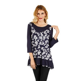 Firmiana Women's Blue and White Floral Layered-look Blouse