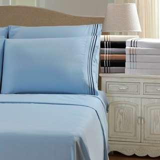 Wrinkle Resistant Embroidered 3-Line 6-piece Sheet Set with Gift Box