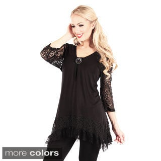 Firmiana Women's Lacy Hem and Sleeve Tunic