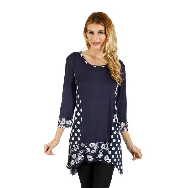 Firmiana Women's Blue and White Dual Print Tunic
