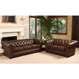 ABBYSON LIVING Vista Tufted Distressed Brown Italian Chesterfield Leather Sofa and Loveseat