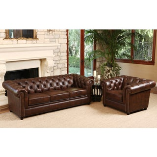 ABBYSON LIVING Vista Tufted Distressed Brown Italian Chesterfield Leather Sofa and Armchair Set