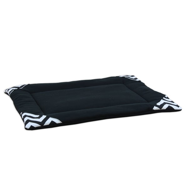 Somette Black Fleece 25x17 Padded Pet Mat
