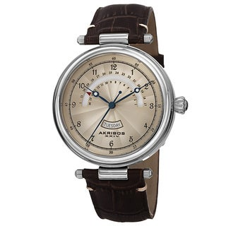 Akribos XXIV Men's Japanese Quartz Retrograde Date Genuine Leather Strap Watch