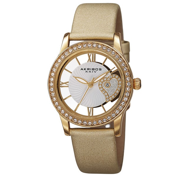 Akribos XXIV Women's Quartz Heart Crystal-Accented Satin Gold-Tone Strap Watch 15009534