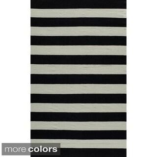 Mersa Wide Stripe Reversible Flat Weave Wool Dhurrie Area Rug (2' x 3')