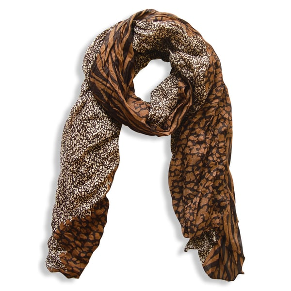 Peach Couture Retro Brown Zebra/ Tan Leopard Mix Animal Print Crinkle Scarf