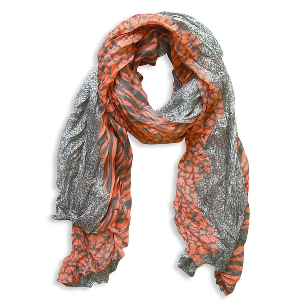 Peach Couture Grey/ Pink Zebra and Leopard Mixed Print Scarf