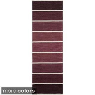 Danville Ombre Stripe Reversible Flat Weave Wool Dhurry Area Rug (2'6 x 8')