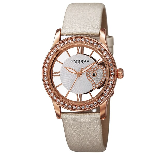 Akribos XXIV Women's Quartz Heart Crystal-Accented Satin White Strap Watch with FREE GIFT 15009654