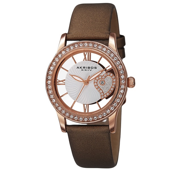 Akribos XXIV Women's Quartz Heart Crystal-Accented Satin Brown Strap Watch 15009655