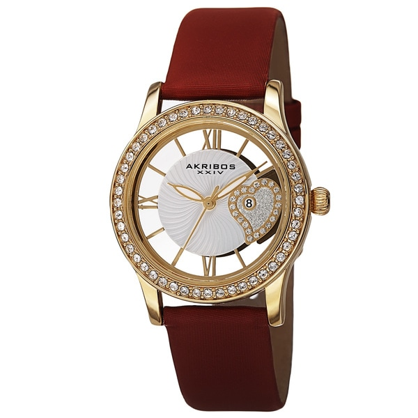 Akribos XXIV Women's Quartz Heart Crystal-Accented Satin Red Strap Watch 15009656