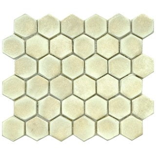 SomerTile 10.75x12-inch London Hexagon Polar Ceramic Mosaic Floor and Wall Tile (Case of 5)