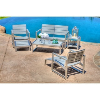 the-Hom Liberty 7-piece All-weather Grey Color Engineer Plywood Patio Seating Set