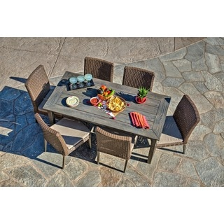 the-Hom The Winchester 7-piece Antique Grey Hard Wood/ Dark Brown All-weather Wicker Beige Cushion Patio Dinning Set