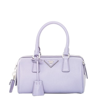 Prada Lavender Mini Saffiano Leather Top Handle Bag