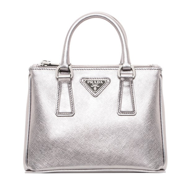 Prada Mini Silver Saffiano Leather Mini Tote