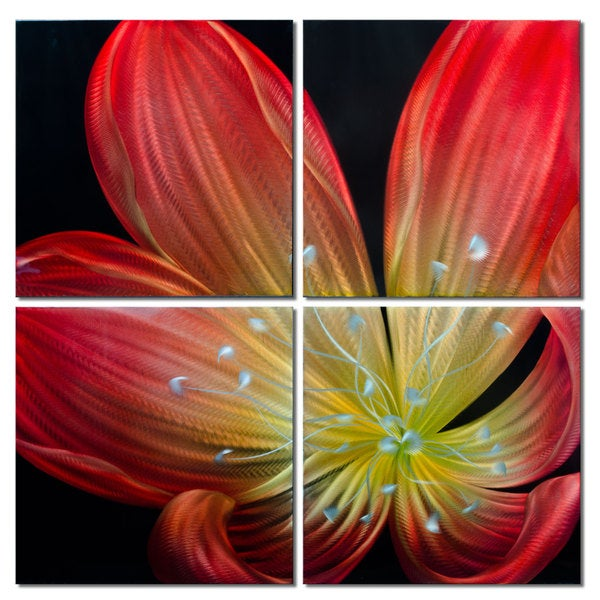 'Blossoming Ember Lily' Large Metal Wall Art 15009949