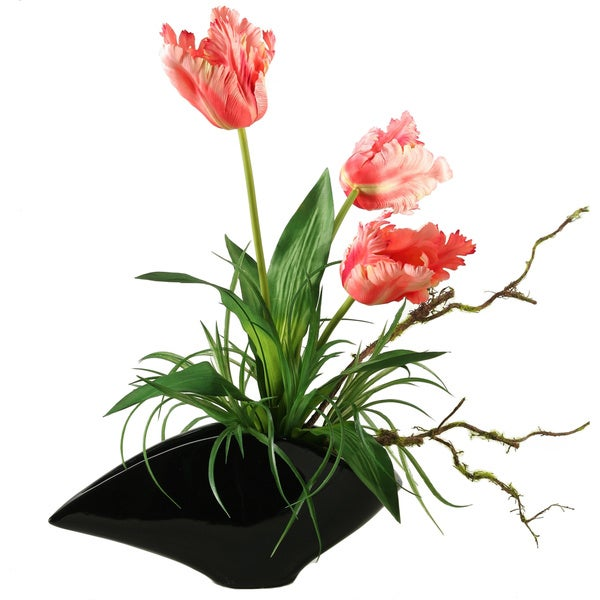 D&W Silks Large Pink Parrot Tulips in Contemporary Resin Planter
