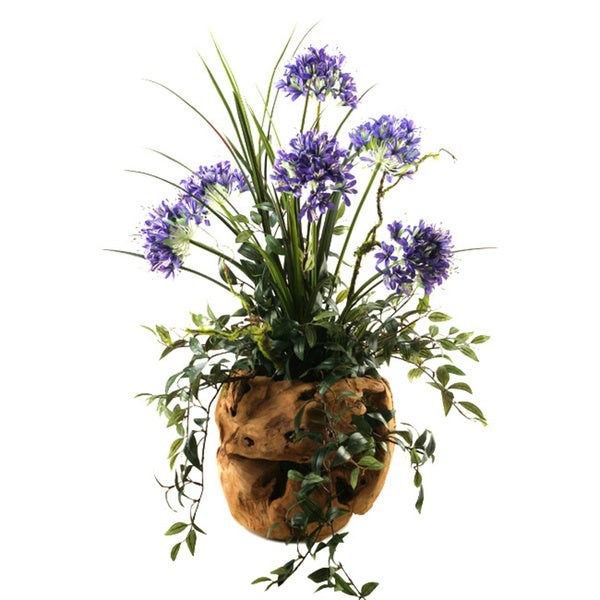 D&W Silks Blue Agapanthus in Wooden Root Ball Planter