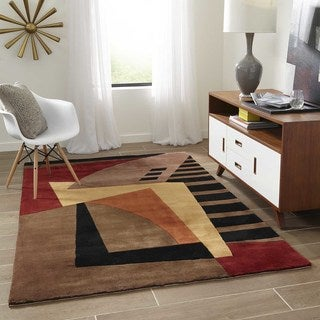 New Wave Symphony Hand-tufted Wool Area Rug (7'9 Round)