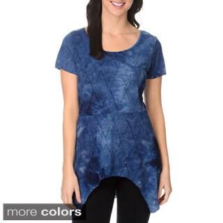 Belldini Women's Pointelle Tie-dye Top