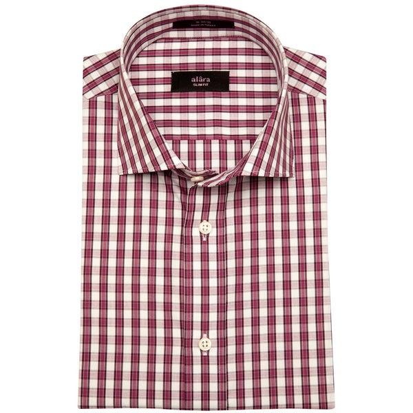 Alara Men's Red Gingham Cotton Poplin Dress Shirt