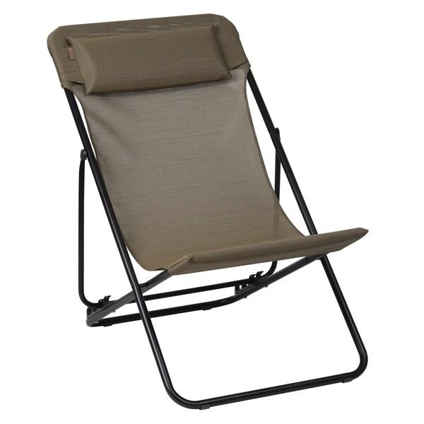 Maxi Transat Plus Black Folding Sling Chair (Set of 2)
