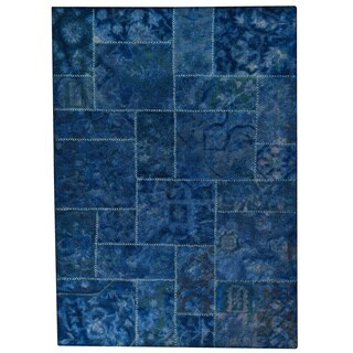 Hand-tufted Sara Blue New Zealand Wool Rug (5'2 x7'6)