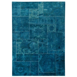 Hand-tufted Sara Turquoise New Zealand Wool Rug (5'2 x7'6)