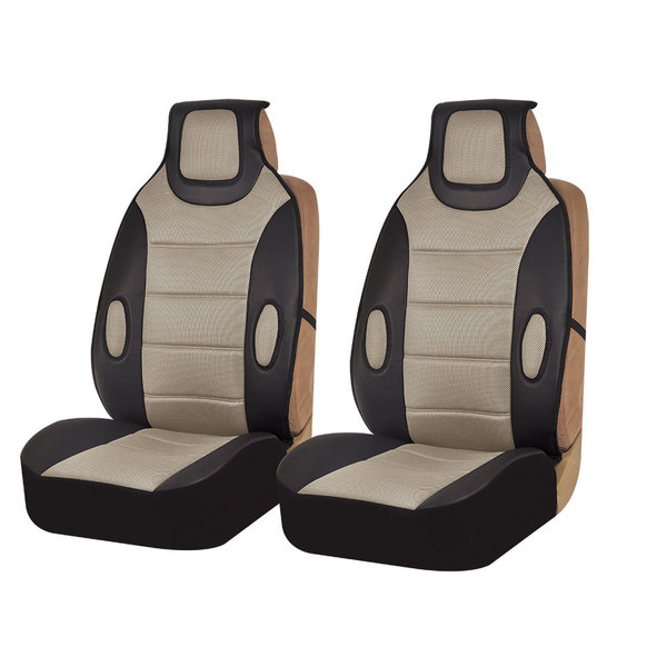 FH Group Beige Leatherette Seat Cushion Pads (Set of 2)