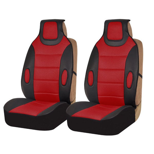 FH Group Red Leatherette Seat Cushion Pads (Set of 2)