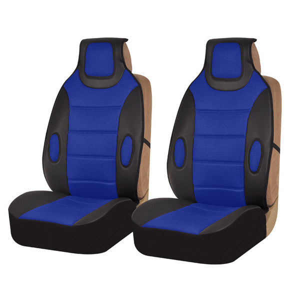 FH Group Blue Leatherette Seat Cushion Pads (Set of 2)